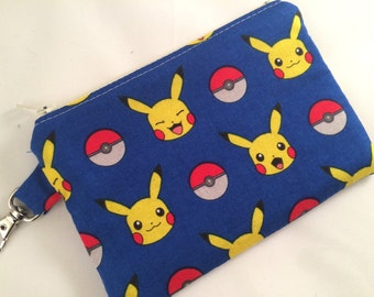 Pokemon Pikachu Zipper Pouch, Stocking Stuffer, Coin Purse, Notions Case