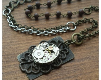 Steampunk Womens Vintage Watch Necklace with Mixed Long Chain