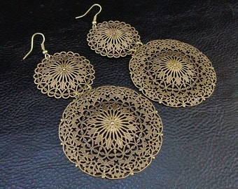 Statement filigree earrings, oversized lightweight antique brass tone chandelier earrings, ornate shoulder dusters