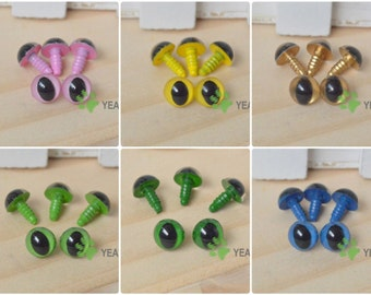 9mm Safety Cat Eyes Plastic Doll Eyes (CE) - Clear / Pink / Yellow / Golden / Grass Green / Green / Blue