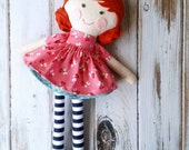 "Ready-To-Ship 17"" Abbie Doll,  Rag Doll, LollyPoppet Doll, SpunCandy, Handmade Doll, Cloth Doll, Fabric Doll, Redheaded Doll"