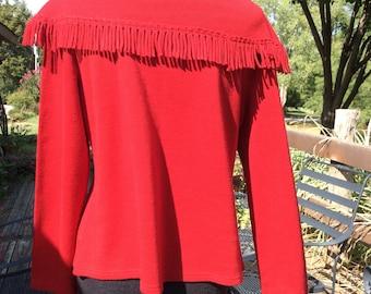 Studio 1940 women medium maroon sweater with fringed cowl neck