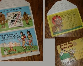 WW II  Ephemera - Vintage Army Humor Greetings Card Set