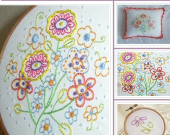Flower Hand Embroidery Pattern, Flowers, Spring, Mothers Day