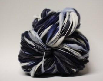 Merino Thick and Thin Handspun Wool Yarn Slub  tts(tm) Hand dyed Half-Pounder LR 1601x