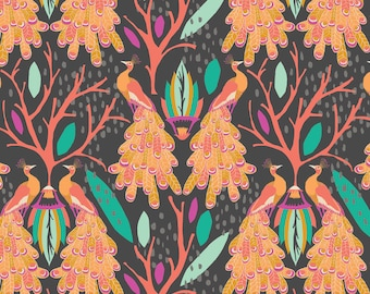 Affinity Peacock Dream in Charcoal, Jessica Swift, Blend Fabrics, 100% Cotton Fabric, 111.107.02.1