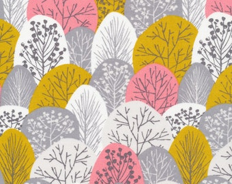 First Light Spring Woodland in Pink, Eloise Renouf, 100% GOTS-Certified Organic Cotton, Cloud9 Fabrics, 133605