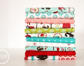 Lil' Red Fat Quarter Bundle, 11 Pieces, Stacy Iest Hsu, 100% Cotton, Moda Fabrics, 20500