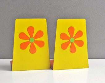 Vintage Pop Art Floral Bookends - Made in Japan