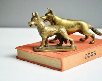 Pair of Vintage Brass Dog Figurines