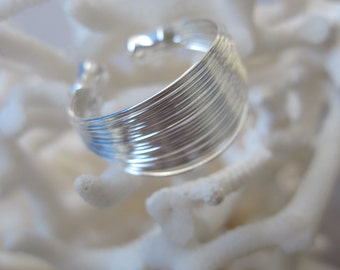 Sterling Silver Adjustable Thin Strands of Wire Ring