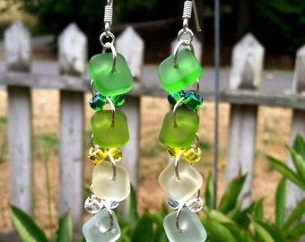 Mint Hot Purple and Orange Sea Glass Earrings by SmithNJewels
