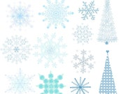 Snowflake Clipart, Traditional Snowflakes Clip Art, Winter Images, Snowflakes Digital Sheet, Winter Digital Images, Snowflakes Art