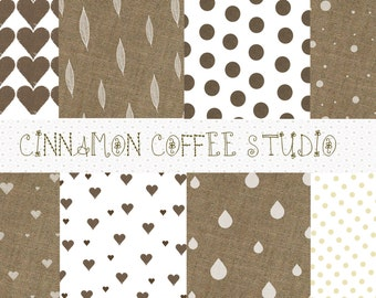 Burlap Digital Paper, Retro Simple White and Burlap Backgrounds, Burlap Texture, Natural Cute Burlap Texture