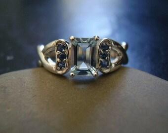 Genuine Aquamarine Octagon & Sapphire Ring - 925 Sterling Silver Ring - Alternative Engagement Ring - Women's Unique Wedding Ring