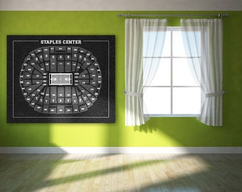 Vintage Print of Staples Center Seating Chart on Premium Photo Luster Paper Heavy Matte Paper, or Stretched Canvas. Free Shipping!