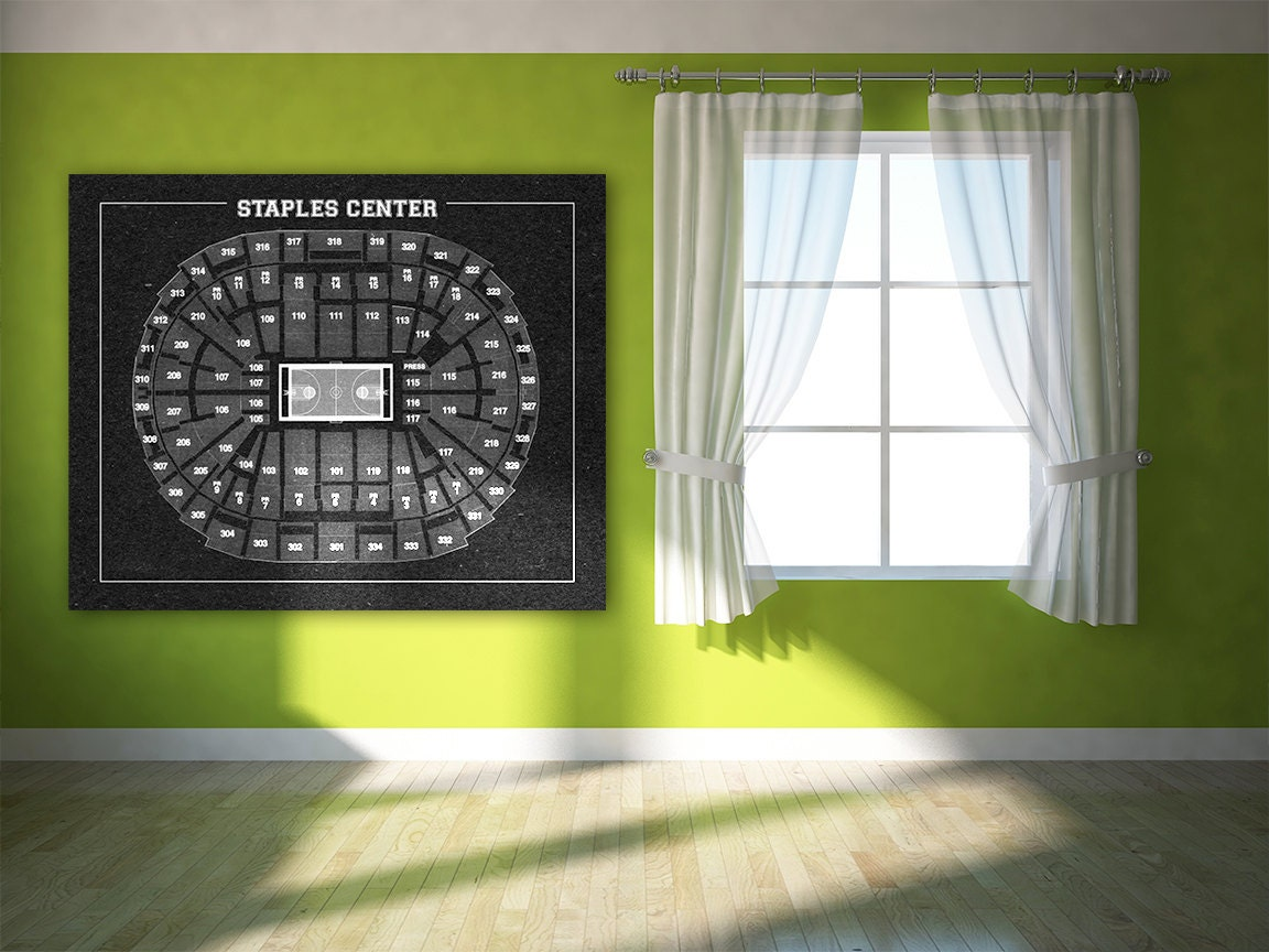 Vintage print of staples center seating chart on premium for 12x15 calculator