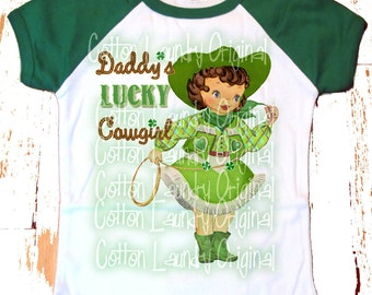 """St. Patricks Day Girls Raglan Pink tee shirt """"Daddy's Lucky Cowgirl"""" St. Paddy's Day"""