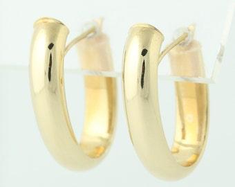 Hoop Earrings - 14k Yellow Gold Pierced Q4600