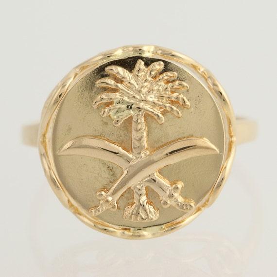 Saudi Arabia Ring 18k Yellow Gold Palm Tree Amp Scimitar
