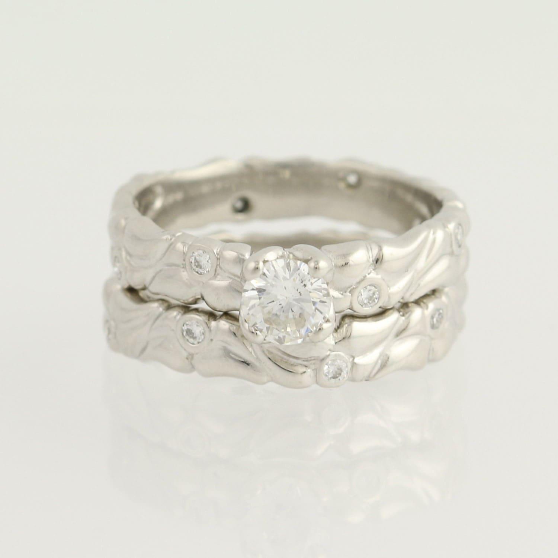 Diamond Engagement Ring Amp Wedding Band Set 950 Platinum Size
