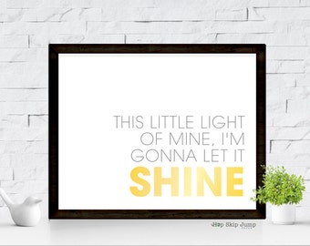 Little Light of Mine, Nursery Art Print, Nursery Kids Wall Art Room Decor Baby Shower Gift