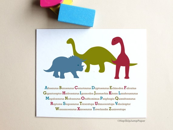 Dinosaur Alphabet Art Poster -- Nursery Kids Wall Art Room Decor Baby Shower Gift - Personalize Custom Colors