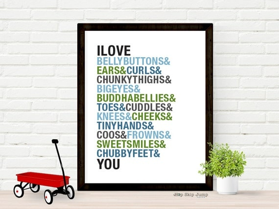 Nursery Art Poster, Nursery Wall Decor - Baby Boy Nursery - Shower Gift - I Love Belly Buttons, Typography Poster, Custom Colors