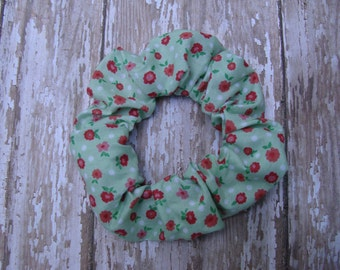 Mint Green and Pink Floral Flowers Fabric Print Hair Scrunchies Ponytail Holder