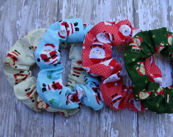 Set of 4 Colorful Santa Christmas Fabric Hair Scrunchies Ponytail Holder Stocking Stuffer Gift