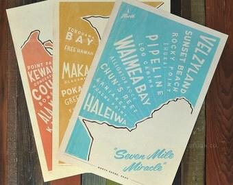 Oahu Surf Maps Series - 12x18 Retro Hawaii Travel Prints
