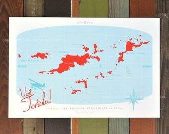 "Visit Tortola -  British Virgin Islands Retro Map - 18""W x 12""T"