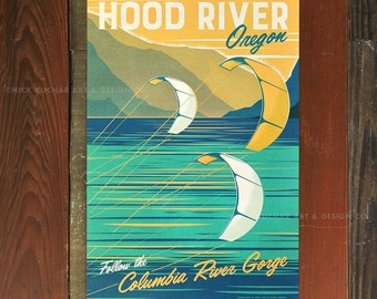 Hood River, Oregon - 12x18 Retro Travel Print