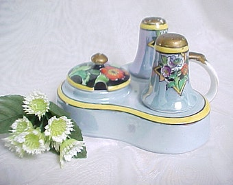 Vintage Condiment Set, Noritake Lusterware Serving Set, 1920s Hand Painted Made in Japan, Mustard Pot with Salt & Pepper in Serving Tray