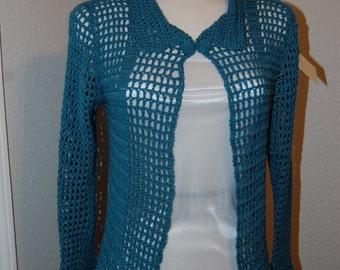 Crochet Cardigan Teal cotton/acrylic blend Size Medium/Large with dual crochet button