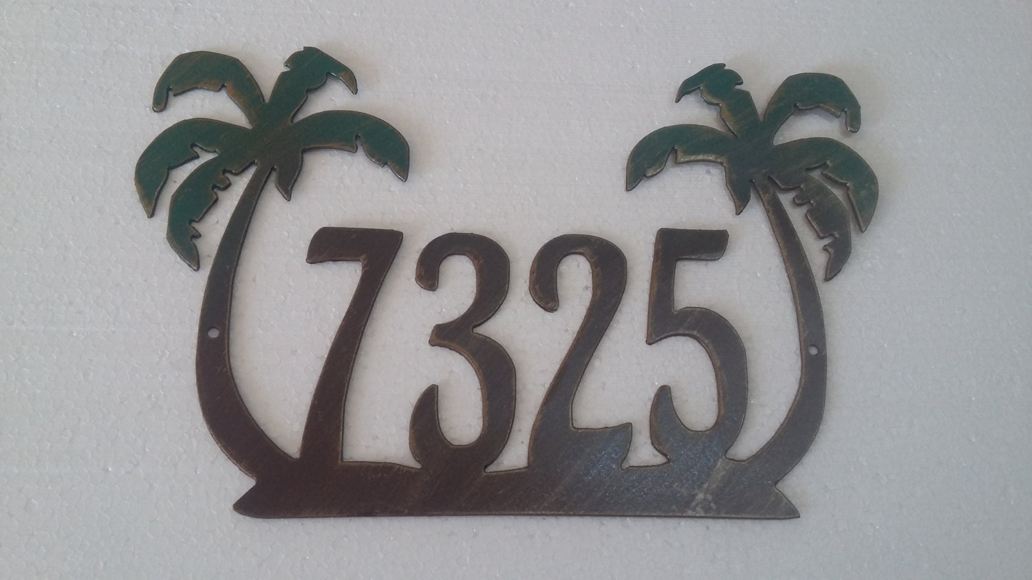 Palm Tree House Number Address Sign Wall Decor Metal Art