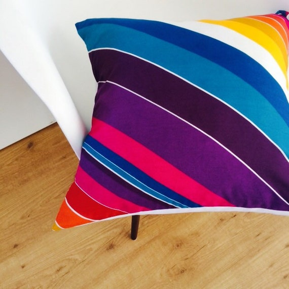 "Modern Striped Pillow Cover 20""x20"" Cushion Vintage Multi Colored Stripes Retro 70's Orange Yellow Blue Purple White Red Colorful"