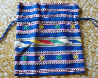 Vintage ethnic drawnstring bag