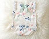 Newborn Floral Jersey Knit Romper, baby girl, aqua, jumper, bodysuit, onesie, romper, photography prop, clothing