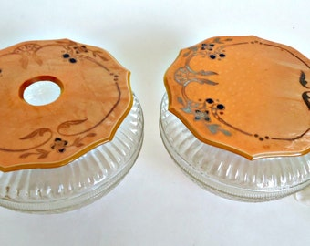 2 Vintage Powder Jar Art Nouveau Hair Receiver Celluloid Lid Antique Dresser Jar 1930's