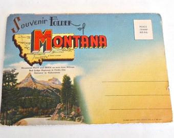 Souvenir Folded Postcard Montana Postcards 1940's
