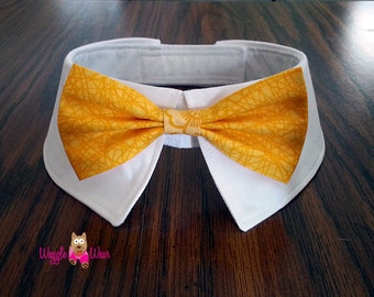 Gold Dog Tie and Shirt Collar or Individual Removable Dog Neck Tie or Bow Tie