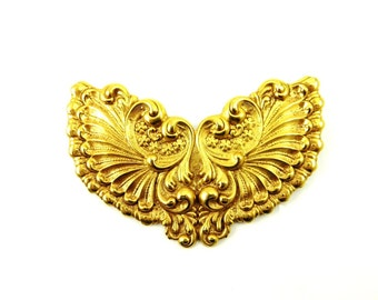 Vintage Art Nouveau Brooch, Brass Flowers Pin, Figural Jewelry, Victorian Revival, Sash Pin, 1940s, Art Nouveau Style Jewelry, Angel Wings