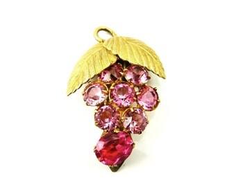 Art Deco Dress Clip, Pink Glass Brass, Open Back Stones, Fur Clip, Grape Vines, Leaves, Vintage 1930s Jewelry