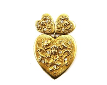 Vintage Gold Heart Brooch, Rhinestone Brooch, Gold Pins, Maiden Goddess Jewelry, Statement Jewelry