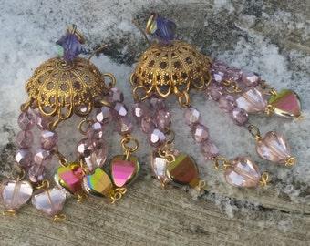 Marie Antoinette Chandelier Earrings.Pink heart swarovski . Solid brass.crystal pink hearts. preciosa crystals.Baroque Princess custom made