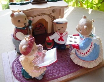 Hallmark Ornaments ~ 1993 The Bearingers of Victoria Circle ~ Set of 5 with Flickering Fireplace Victorian Christmas