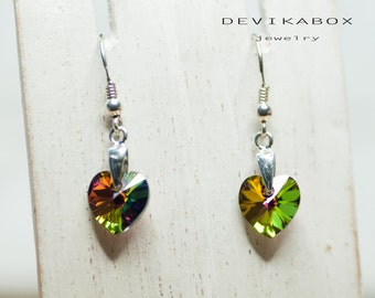 Heart Earrings, Swarovski Earrings, Crystal Heart Earrings, Romantic Earrings, Gift For Her, Swarovski Jewelry, Iridescent Green Earrings
