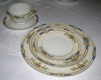 Vintage Meito Porcelain China 5 Piece Place Setting Warren Pattern Circa 1920-30's