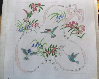 Hand Painted Hummingbirds & Flowers Needlepoint/Tapestry Canvas